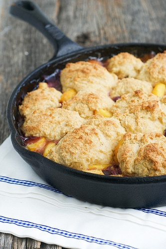 Nectarine Blueberry Cobbler made in a cast iron skillet