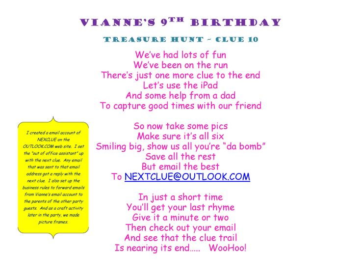 Birthday Treasure Hunt Clue 10 #Treasure #Hunt #Treasurehunt #Clue10