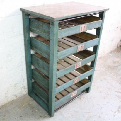 Vintage Industrial Painted Wooden Shelf Rack