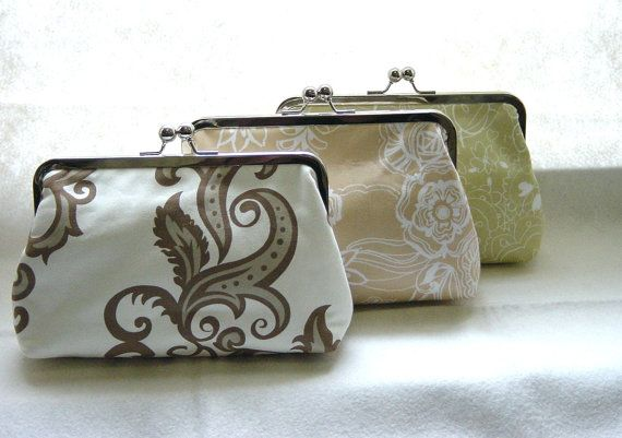 Custom Bridesmaids Clutches  SET of 3 Bridal by JuliaSherryDesigns