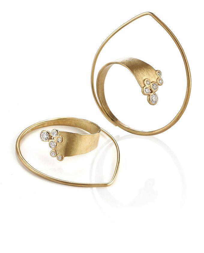 Ayesha Studio - Gold Diamond Seafoam Earrings