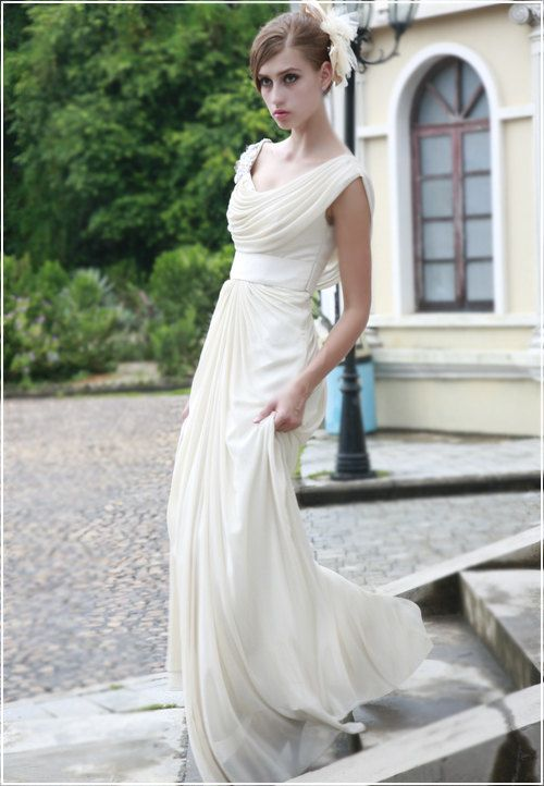 cap sleeves scoop A line chiffon evening by Lemandyweddingdress, $215.00