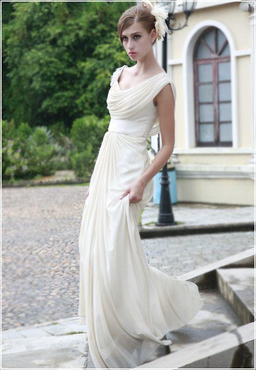 cap sleeves scoop A line chiffon evening by Lemandyweddingdress, $215.00