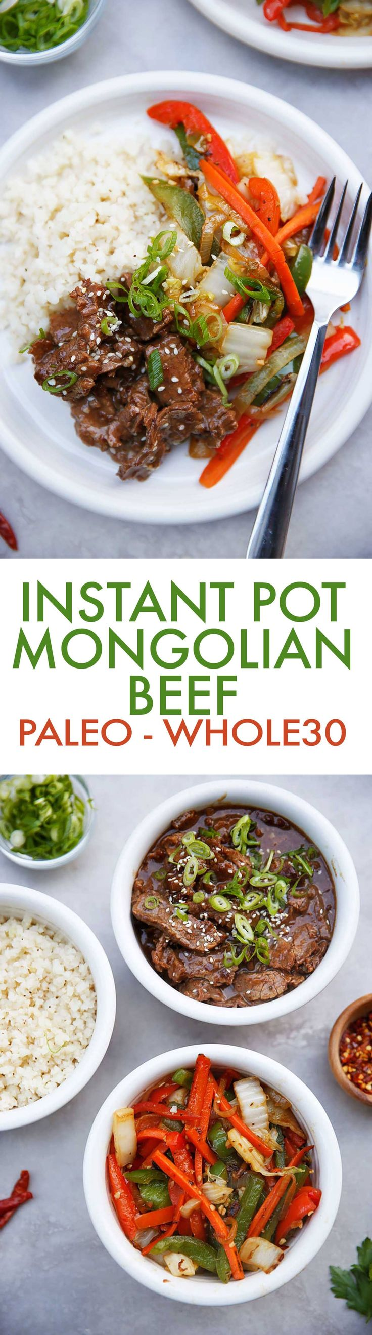 This Instant Pot Paleo Mongolian Beef is a dinner must-make! Made with tender, flavorful beef in a perfect sauce and served with cauliflower rice and delicious veggies. This P.F. Chang's copycat recipe is made gluten-free, soy-free, paleo-friendly, low carb, and whole30-compliant!