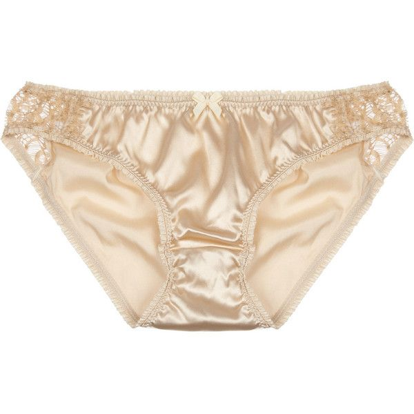 Mimi Holliday by Damaris Bisou Bisou Brulee lace-paneled stretch-satin... (€29) ❤ liked on Polyvore featuring intimates, panties, lingerie, underwear, undies, ruffle panties, frilly lingerie, underwear lingerie, mimi holliday by damaris and stretch satin panties