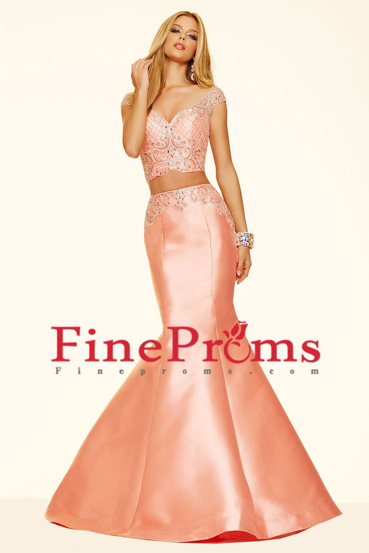 2016 Prom Dresses Off The Shoulder Two Pieces Mermaid Satin