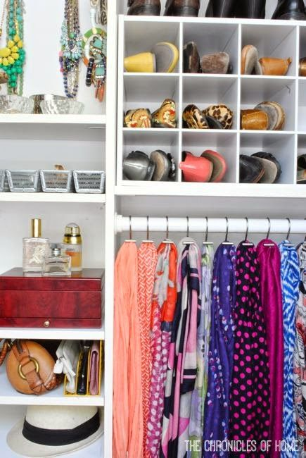 Possibly for the cupboard under the stairs. Organize scarves with shower curtain hooks - from The Chronicles of Home