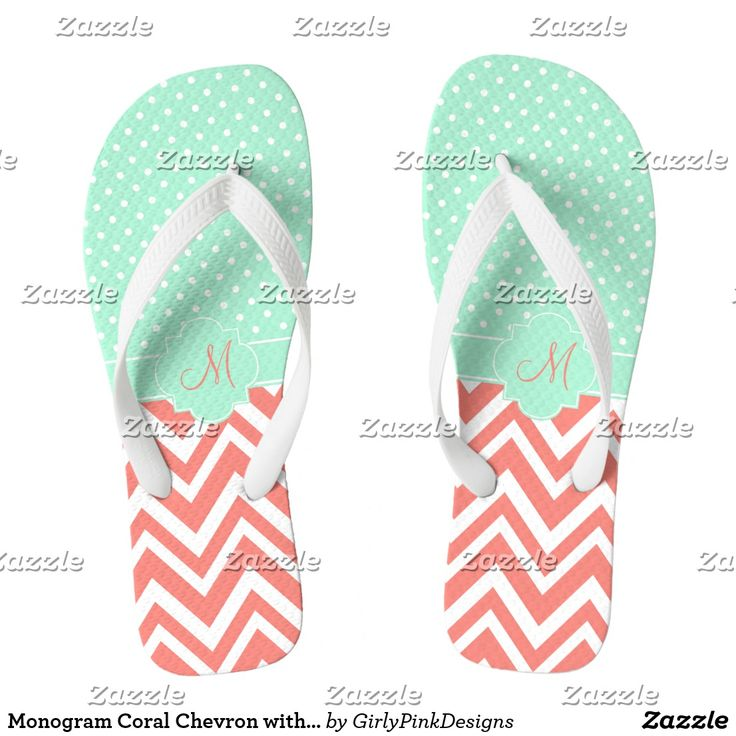 Monogram Coral Chevron with Mint Polka Dot Pattern  #summer #beachwear #flipflops #teal #chevron #polkadots #summertime #beach #holiday