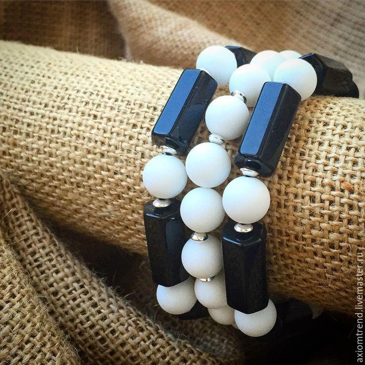 """Купить Set мужских браслетов """"Man Geometry"""" из коллекции """"Geometry"""" - черно-белый, комплект браслетов"""