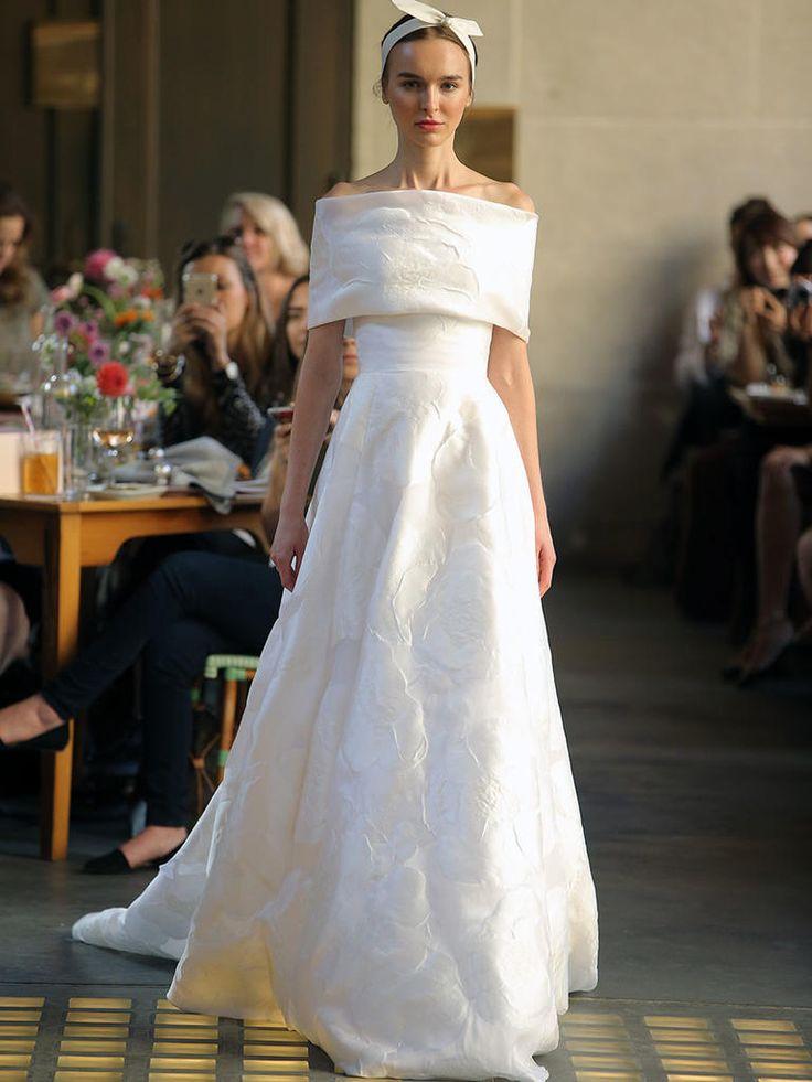 Lela Rose Fall 2017 off shoulder A-line wedding dress with floral motif