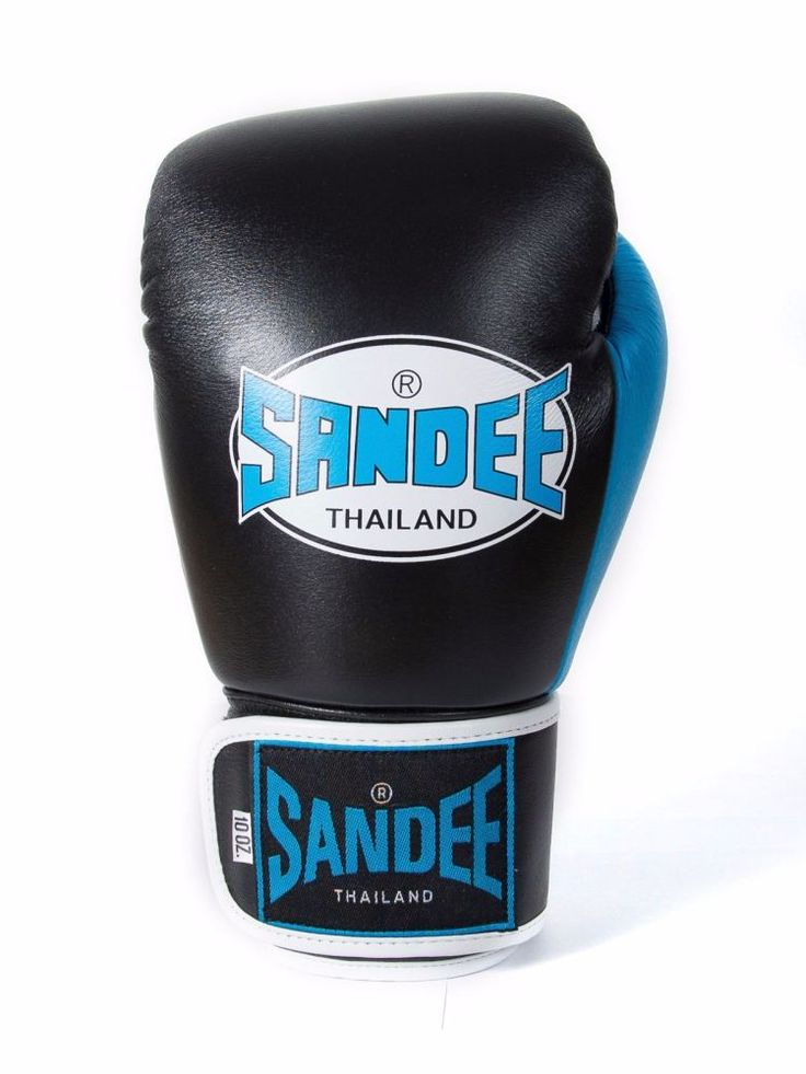 Sandee Neon Velcro Leather Boxing Gloves - Black & Blue