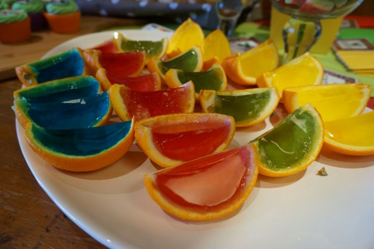 The Hungry Caterpillar Party. Rainbow Jelly Oranges. @shanschlotts