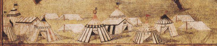 """""""L'accampamento dell'alleanza fra Papa Sisto IV, Re Ferdinando di Napoli, e la Repubblica di Siena"""" anno 1479  Disegnato da Pietro di Francesco Orioli"""