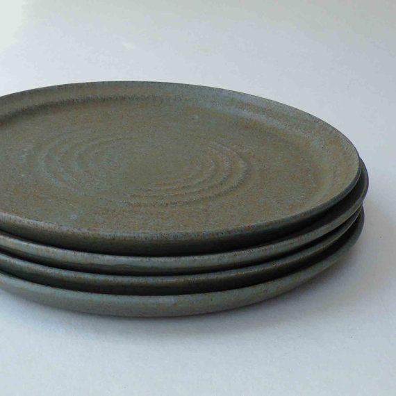 Set of 4 Stoneware Dinner Plates - Matte Woodland Green - Green and Brown - Serving : stoneware dinner plate - pezcame.com