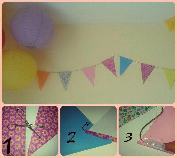 Tutorial para hacer una guirnalda, para decorar una fiesta infantil.
