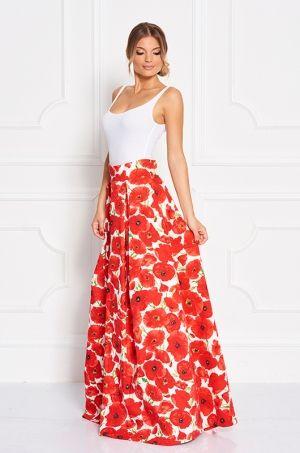 Maxi sukňa s výraznou potlačou divých makov. Krásny kúsok, ktorý ľahko skombinujete k tričku, body. Vhodná na každodenné nosenie, do práce, meeting.