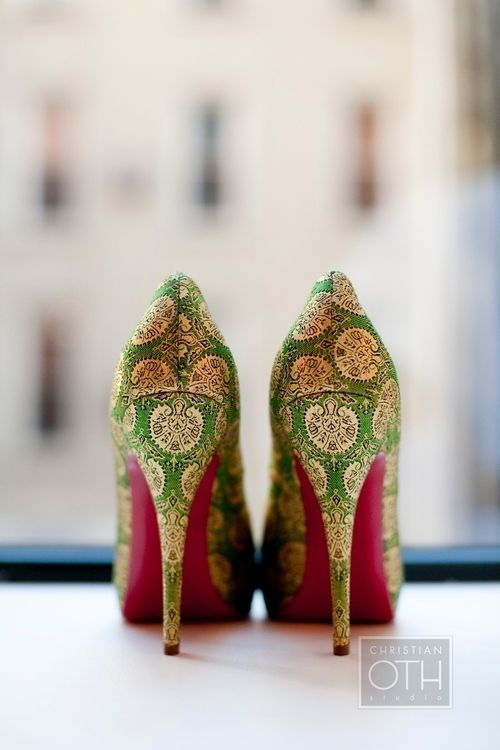 Printed green and pink wedding shoes!