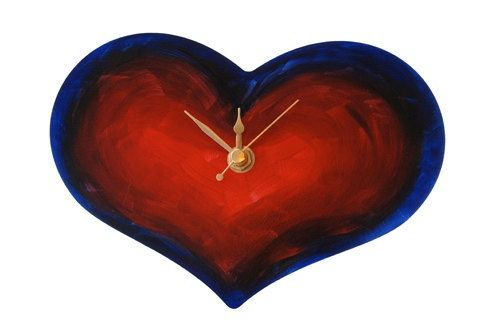 Vibrant heart wall clock, Non-Ticking, Cute Little Clock, Bedroom clock, Love token, Anniversary gift, BFF, Unusual wall clock, Art Clock
