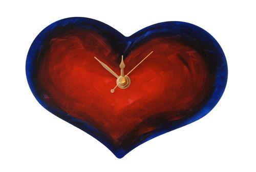 Vibrant heart wall clock, Non-Ticking, Cute Little Clock, Bedroom clock, Love token, Anniversary gift, BFF, Unusual wall clock, Art Clock