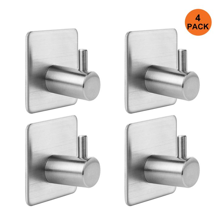 Kangora Bathroom Towel Hook Bath, Shower & Kitchen   Strong Adhesive Backing for Wall or Door   Contemporary, Stainless Steel Design   Easy Installation (4 - PACK)