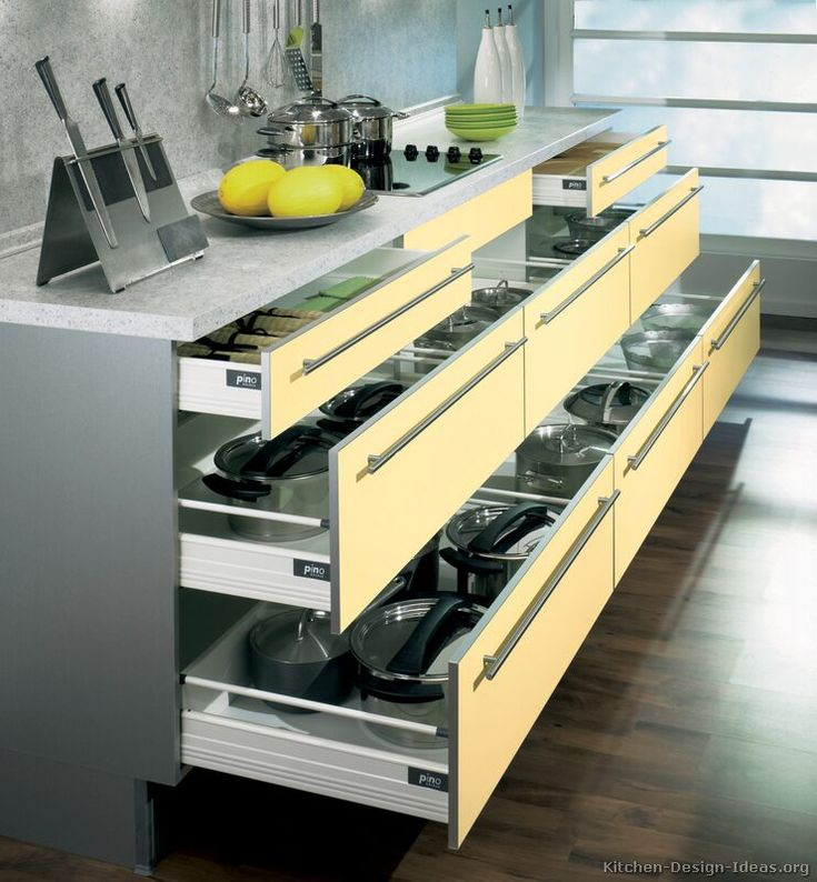 #Kitchen Idea of the Day: Modern Two-Tone Kitchens. (By ALNO, AG). Organized pot and pan drawers.