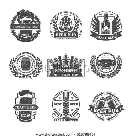Beer Logo Vintage Isolated Label Set Vector Illustration Brewing