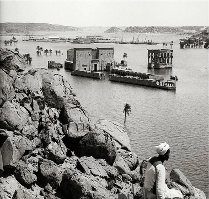 a very rare old photo .... temple of Philae, during the annual flood of the Nile