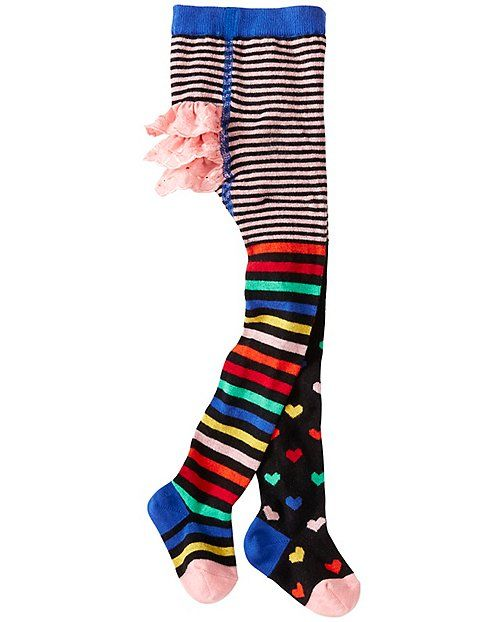 Surprise! One leg wears stripes and the other wears dots ...