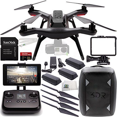 3DR Solo Quadcopter (No Gimbal) with Manufacturer Accessories + 2 Extra 3DR Flight Batteries + 2 3DR Propeller Sets + 3DR Solo Backpack + SanDisk Extreme PRO 32GB Micro SDHC Memory Card + MORE SSE http://www.amazon.com/dp/B0141GNLRW/ref=cm_sw_r_pi_dp_17fBwb0P50CPR