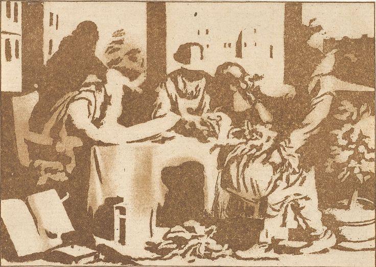 Cornelis Ploos van Amstel | Botanicus, Cornelis Ploos van Amstel, Cornelis Brouwer, 1779 | Enkele mannen bestuderen planten aan een tafel. De oude zittende man schrijft in een boek. Rechts draagt een man een mand met planten. Door de ramen zicht op een tuin en een landhuis.