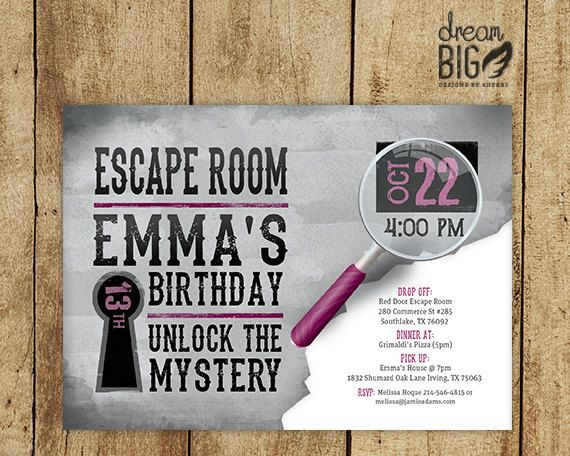 Escape Room Invite Gray // Girls or Boys Birthday // Pink Blue or Gray // Printable Digital PDF and JPEG // Photo Option by DreamBigDesignsLLC on Etsy