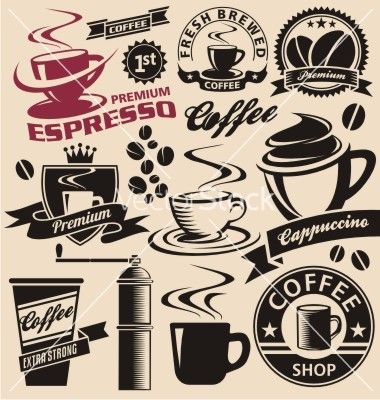 Set of coffee symbols icons and signs vector 1306385 - by Lukeruk on VectorStock®