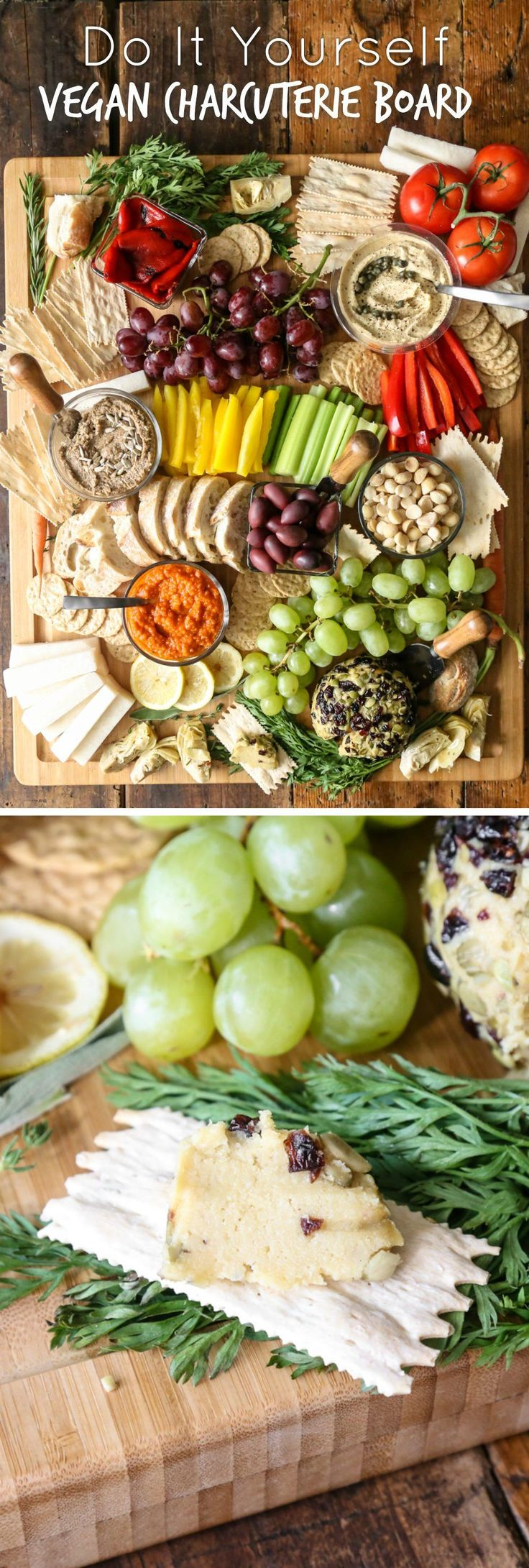A beautiful spread of fruits and vegetables arranged to create a plant-based charcuterie board that's perfect for your next party.