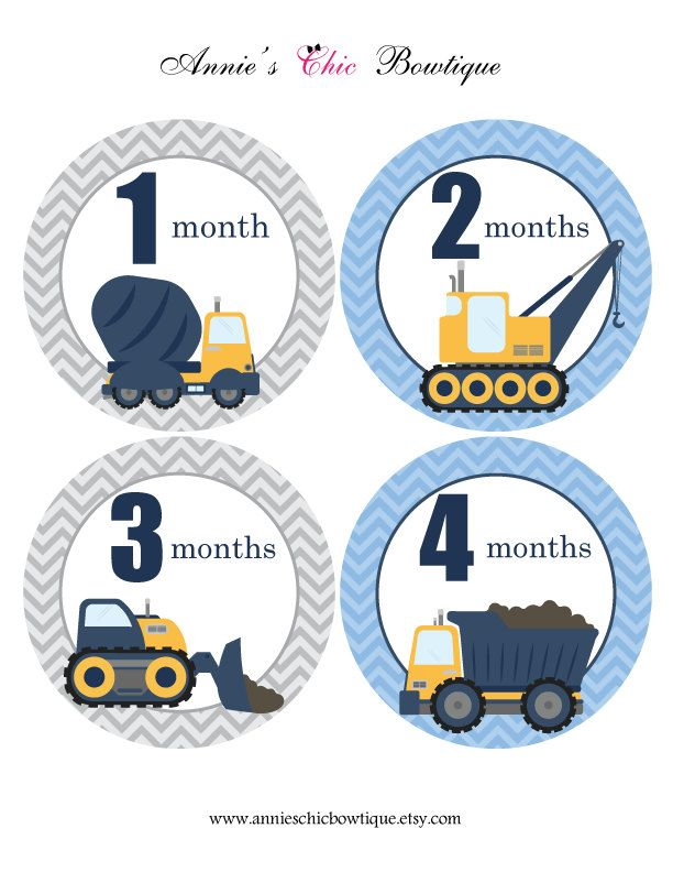 Boy Month Stickers, Baby monthly stickers, Under Construction, Dump Truck, Crane vehicle, Baby Shower gift, Boy Nursery Closet, Growth A206 by AnniesChicBowtique on Etsy