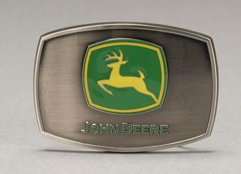 john deere belt buckle   John Deere Logo Enamel Pewter Belt Buckle