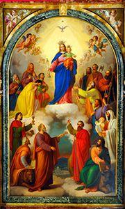 Cuadro de María Auxiliadora de Turín, mandado pintar por San Juan Bosco. Historia de la advocación de 'María Auxiliadora de los Cristianos'.
