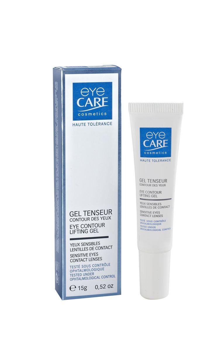Gel tenseur contour des yeux Eye Care - Ce gel ultra-frais pour yeux sensibles et porteurs de lentilles a un effet lifting instantané : ses actifs dermo-tenseurs (gomme d'acacia, propolis et peptides collagene-like) raffermissent et lissent le contour de l'œil, notamment les ridules de la patte d'oie. Il est enrichi en eau florale adoucissante pour une grande sensation de confort.   #eye #cream #blue #cosmetic