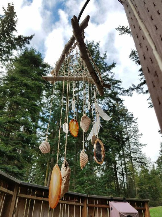 Driftwood and Shell Mobile with Quartz and by LaydeeBuggDesigns