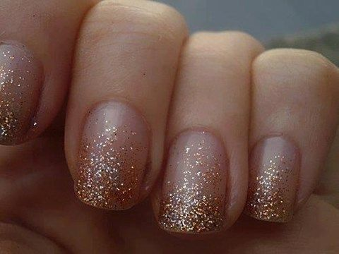 Love this simple glitter ombre nail look.  63 Stunning Winter Wedding Nails Ideas | HappyWedd.com