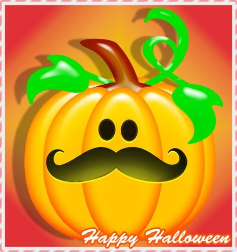 Happy Halloween Stache Pumpkin