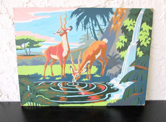 Thirsty Gazelles Craftint Paint Mid Century 1956 Vintage Paint by Number PBN Unframed Painting AtomicPutz.com