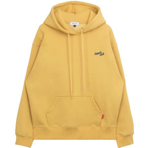 HEART CLUBEmbroidered Logo Drawstring Hoodie | mixxmix ($61) ❤ liked on Polyvore featuring tops, hoodies, sweaters, beige hoodie, lightweight hooded sweatshirt, light weight hoodie, logo hoodies and cotton hooded sweatshirt