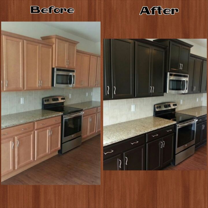 Kitchen Cabinets Refinished Before And After