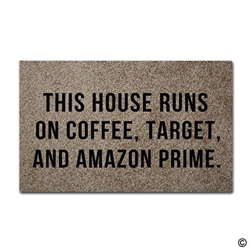 "awesome MsMr Doormat Entrance Floor Mat This House Runs On Coffee, Target, And Amazon Prime Indoor Outdoor Decorative Door Mat Entry Way Mat Machine Washable Non-woven Fabric Top 18""x30"""