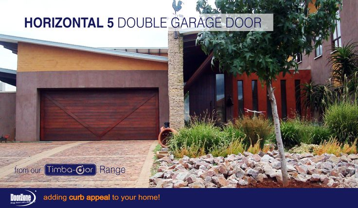 """The custom Horizontal 5A is a meranti Horizontal Slatted garage door with an extra """"V' style trim, from our Timba-dor™ Range, which adds an architectural statement that truly differs from most timber garage doors. Add the d-force™ Automatic Overhead Garage Door Opener for that extra convenience and safety. www.doorzonesa.com"""