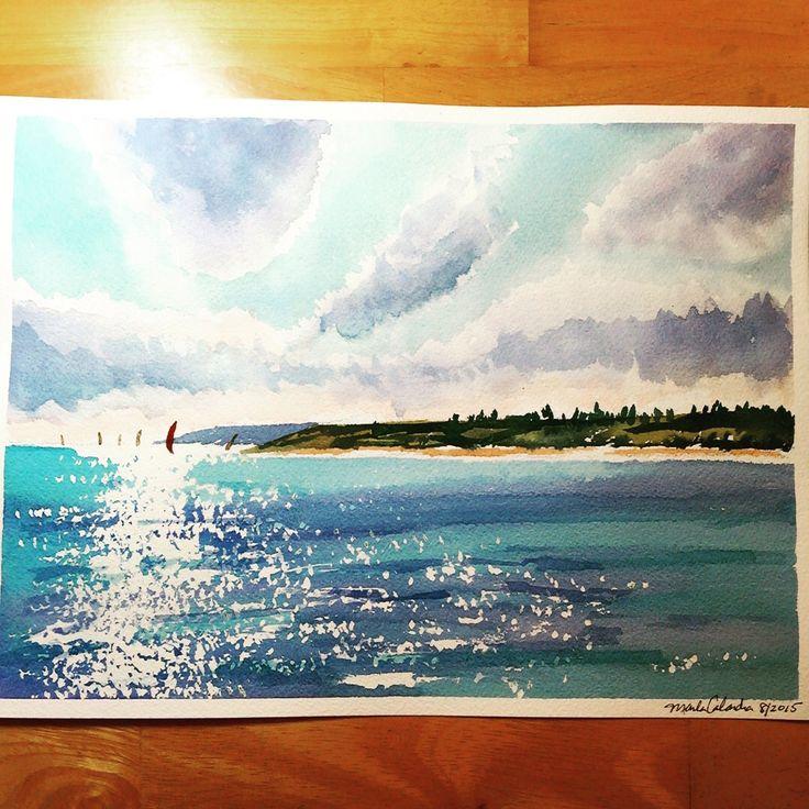 """""""Sparkling Sea"""" watercolor by Marla Calandra"""