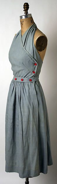 """Clair McCardell defined the """"American Look."""" Playful, sporty, functional, and industrial garments made from casual fabrics gave her designs a frank, appealing appearance. Photo part of the Met Museum collection. Dress: cotton, 1943"""