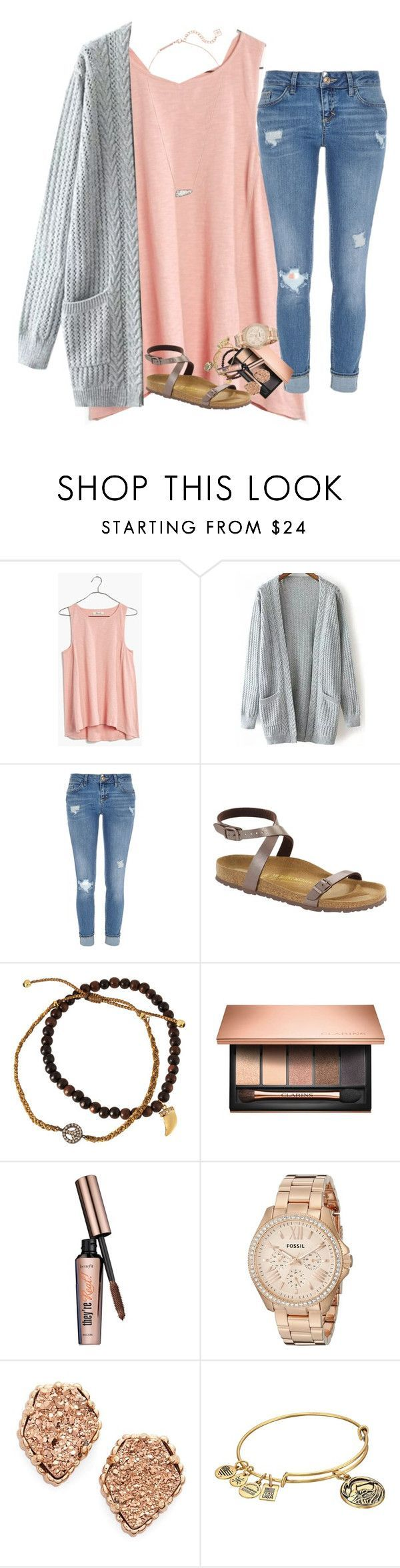 """Fall"" by kyliegrace ❤️ liked on Polyvore featuring beauty, Madewell, River Island, Birkenstock, Tai, Clarins, Benefit, FOSSIL, Kendra Scott and Alex and Ani"