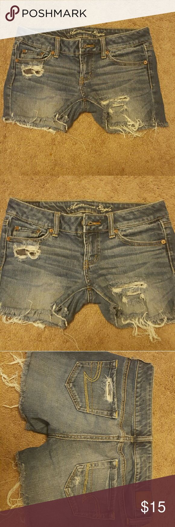 American Eagle Favorite Boyfriend Shorts A pair of skinny jeans transformed into coachella ready shorts. A little on the shorter side, not necessarily perfect for the girl with long legs. A few holes, one located on the thigh and another on the hip.    ?AME070808? *no trades but offers are welcome *willing to bundle American Eagle Outfitters Shorts Jean Shorts