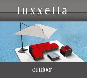 Luxxella Gazebo 7 pcs Outdoor Patio Wicker Furniture Sofa Set RED